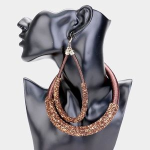 Glitter Cluster Detail Cord Collar Necklace Set